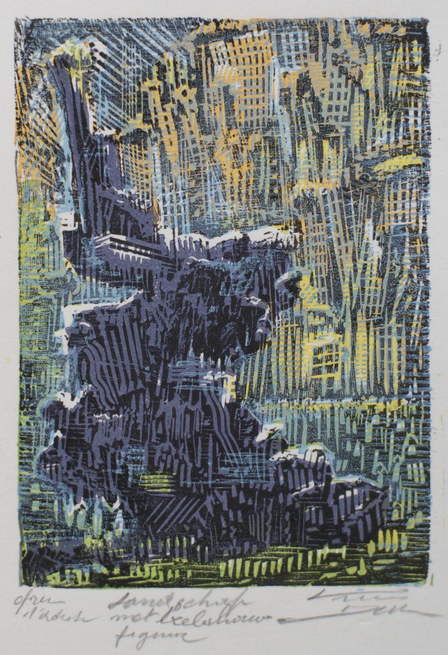 Victor Delhez Landschap met beeldhouwfiguur 2