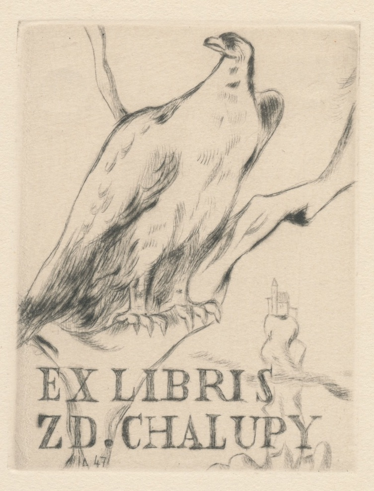 004 Ex Libris Zd. Chalupy - Lubomír Anger (ets) 3 euro 02