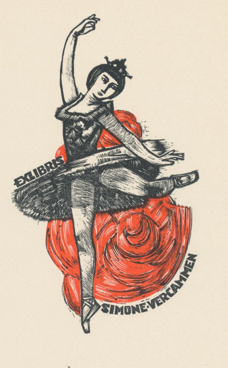 020 Ex Libris Simone Vercammen - Jan Battermann (1909-1999) opus 44 linosnede 4 euro