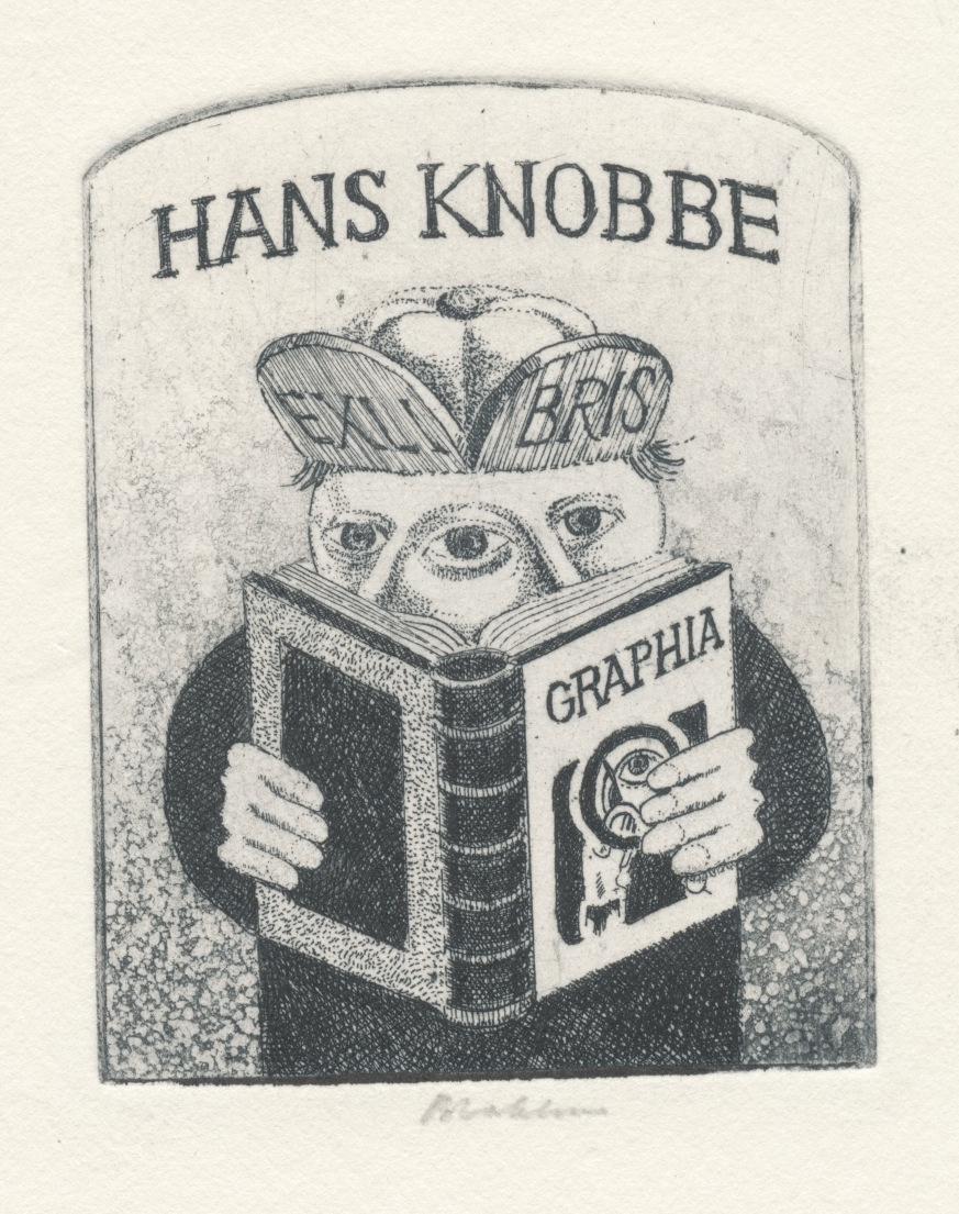 034 Ex Libris Hans Knobbe - door Henk Blokhuis (1936-...) gesigneerd en op rug gestempeld 3 euro