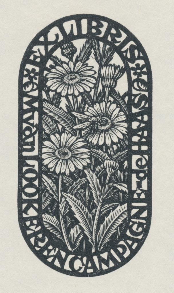 069 Ex Libris M. van Lookeren Campagne - de Haas - door Nico Bulder (1898-1964) 2.5 euro