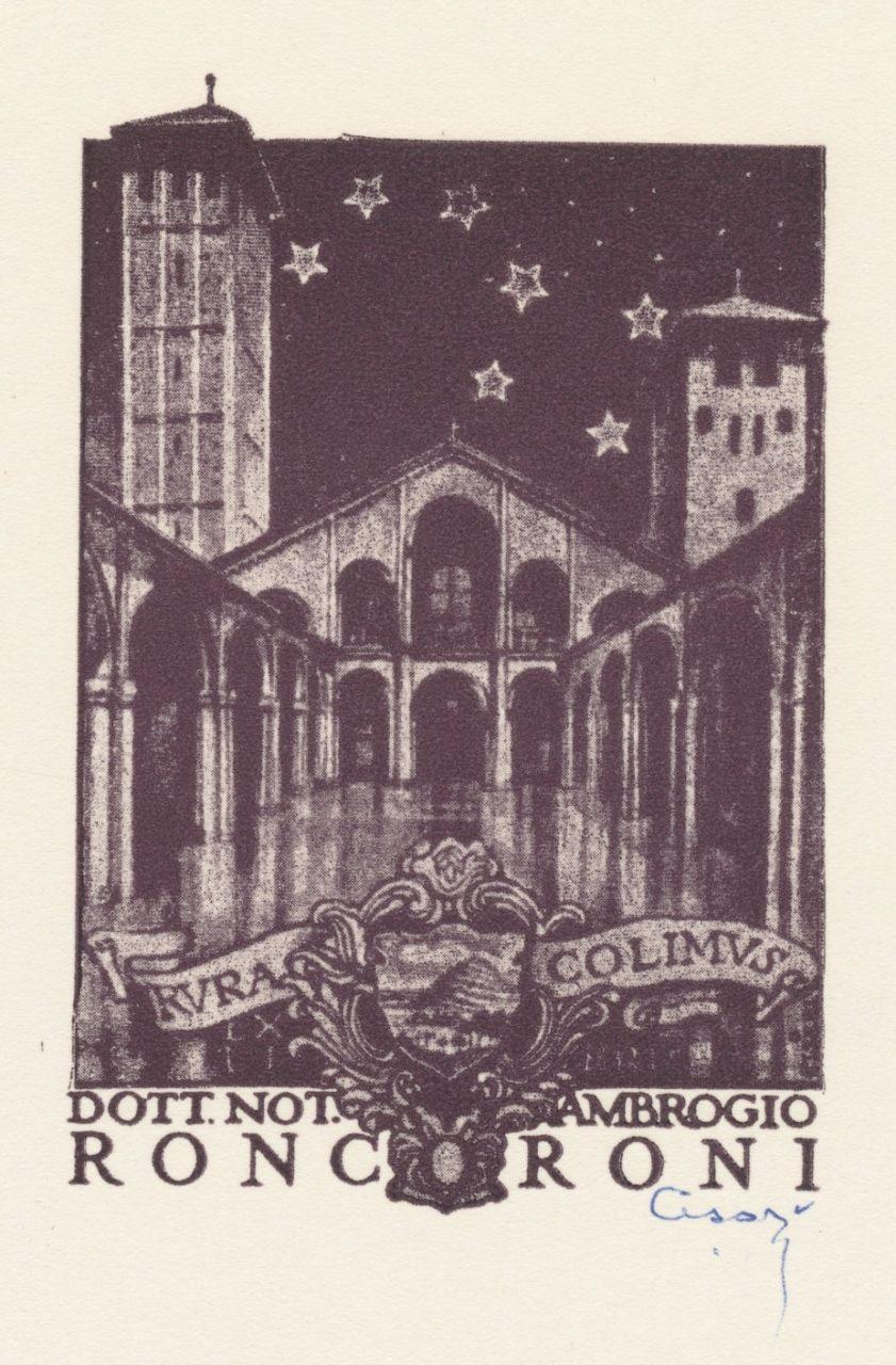 Ex Libris Ambrogio Roncoroni - Giulio Cisari (gesigneerd) 3 euro 02