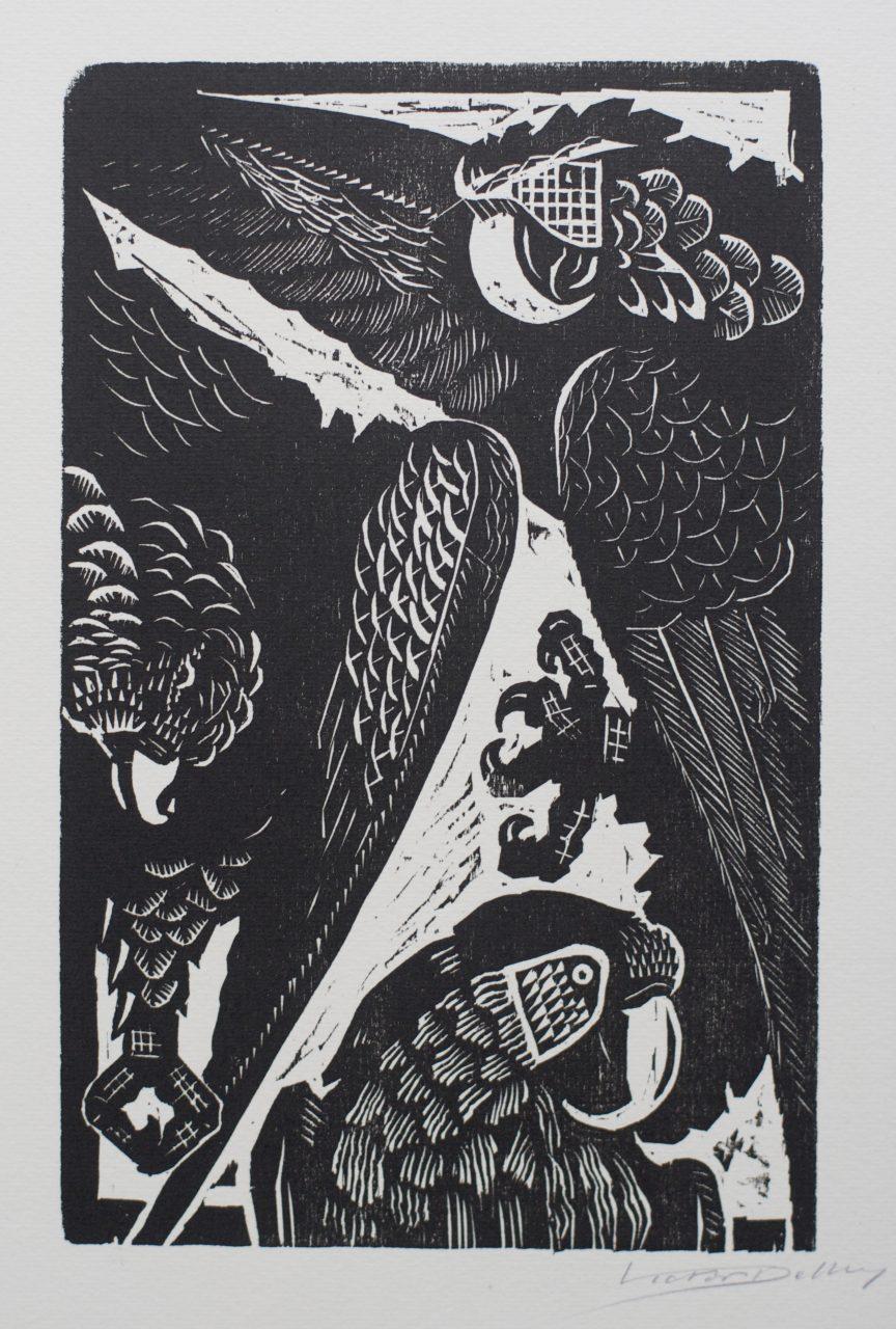 Victor Delhez 15 houtsneden Papegaaien IIb