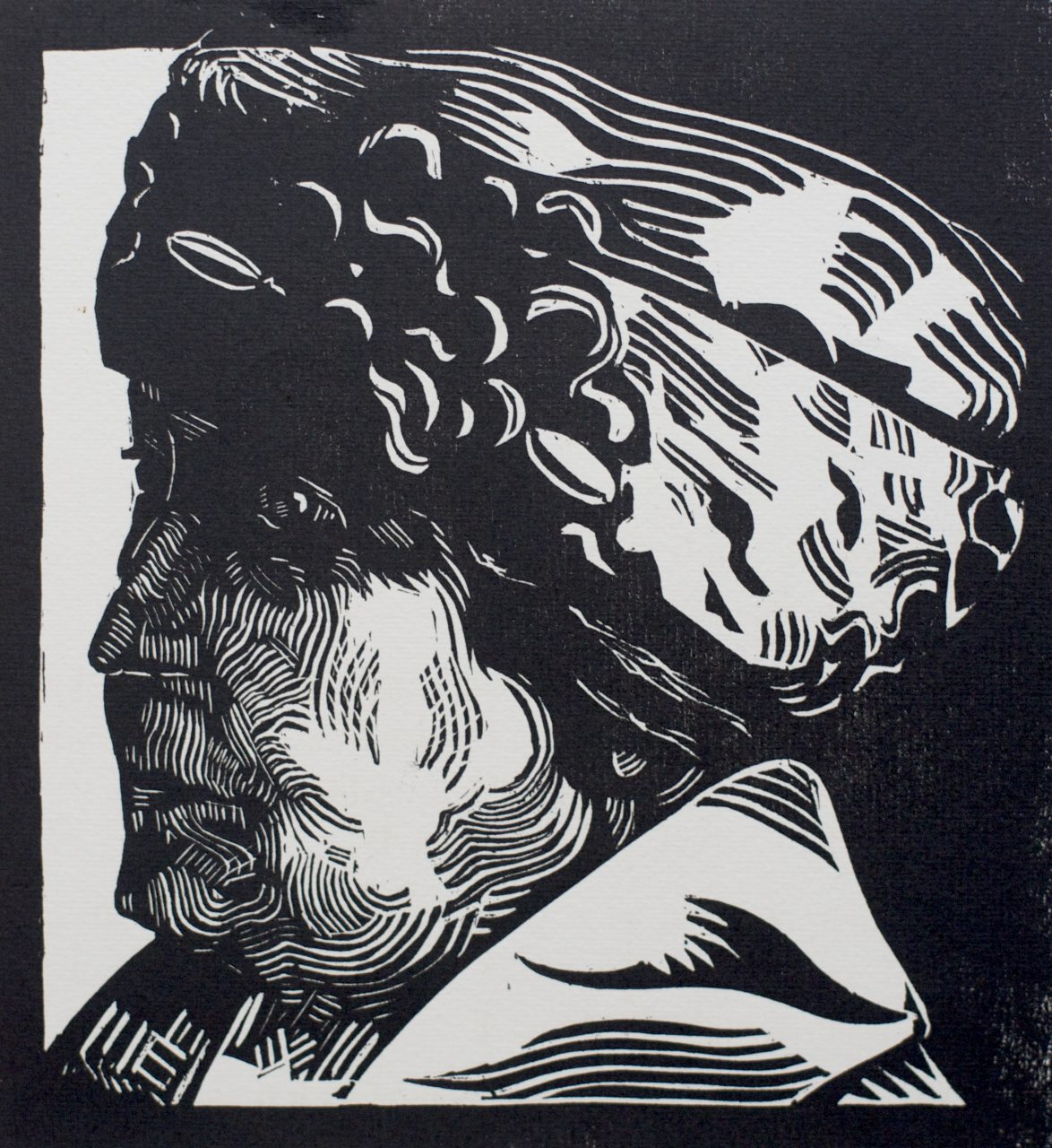 Victor Delhez 15 houtsneden Portret Mme Delhez II