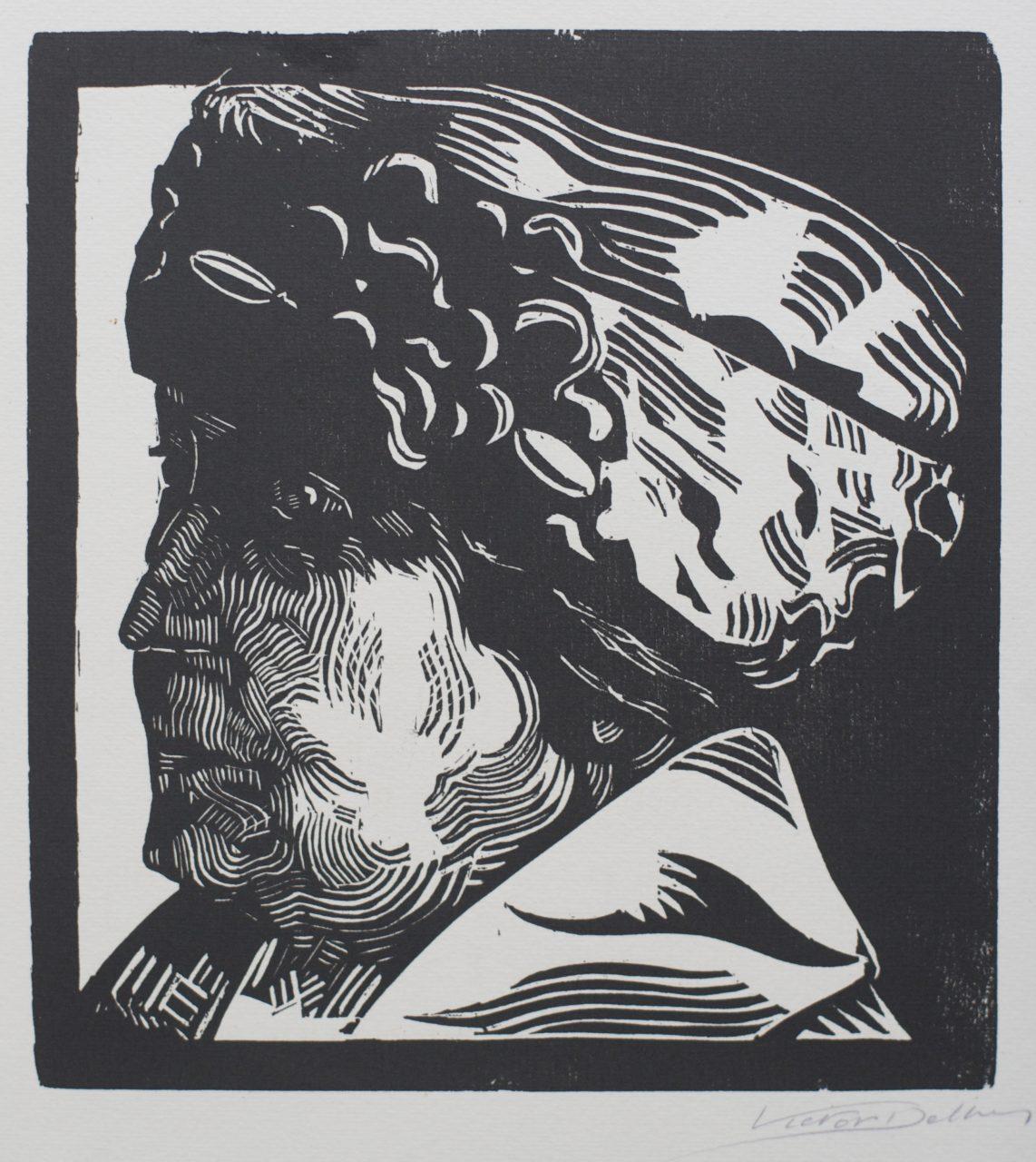 Victor Delhez 15 houtsneden Portret Mme Delhez III