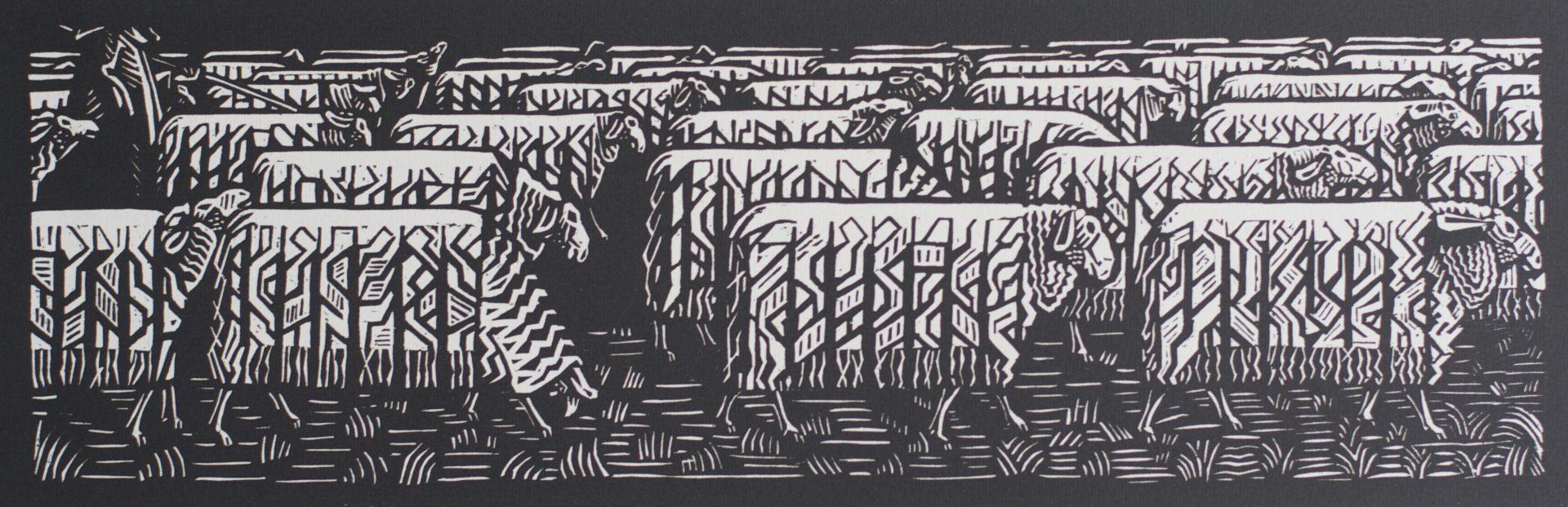 Victor Delhez 15 houtsneden Schapen II