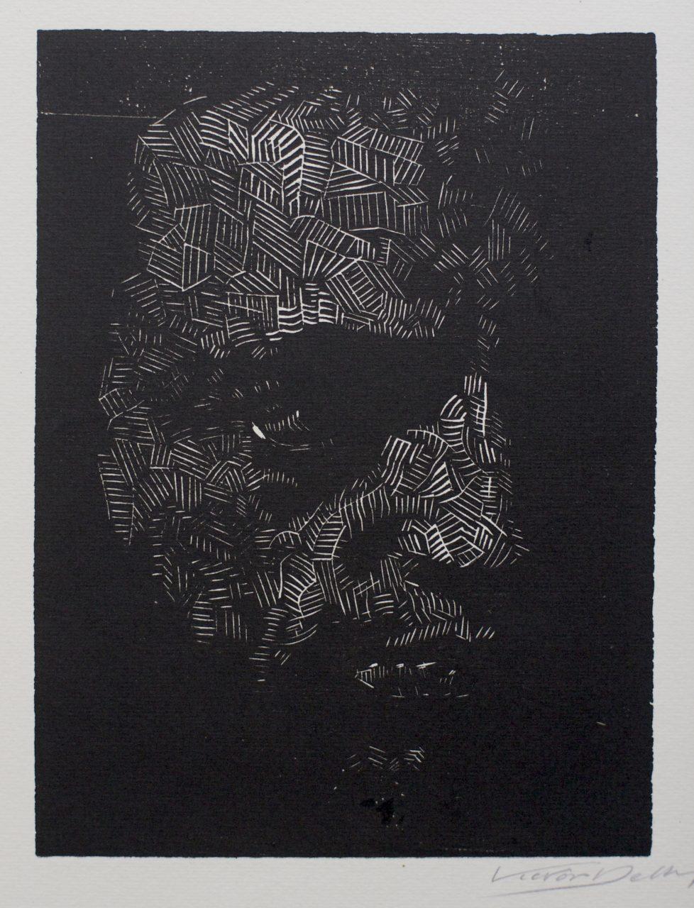 Victor Delhez 15 houtsneden Zelfportret III