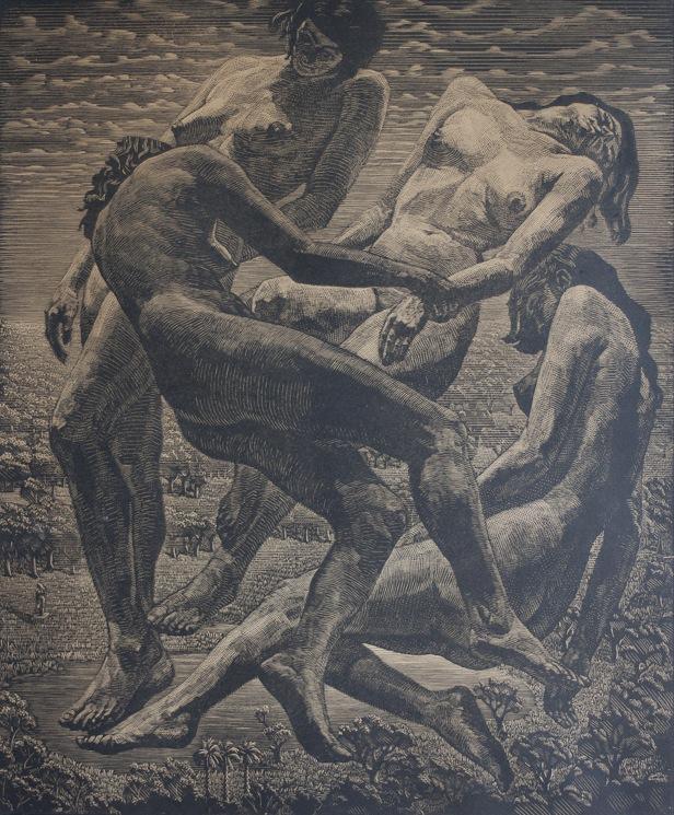 houtsnede Victor Delhez (1902-1985)-1