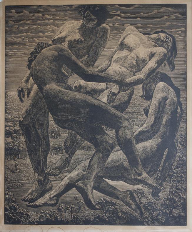 houtsnede Victor Delhez (1902-1985)-2