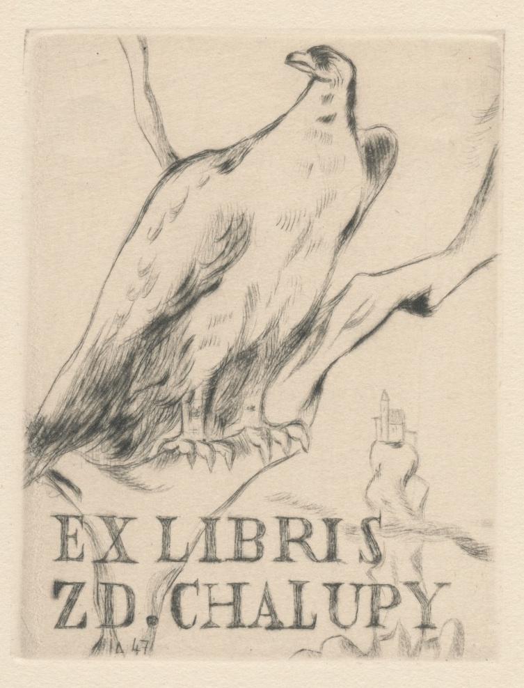 004 Ex Libris Zd. Chalupy - Lubomír Anger (ets) 3 euro 02