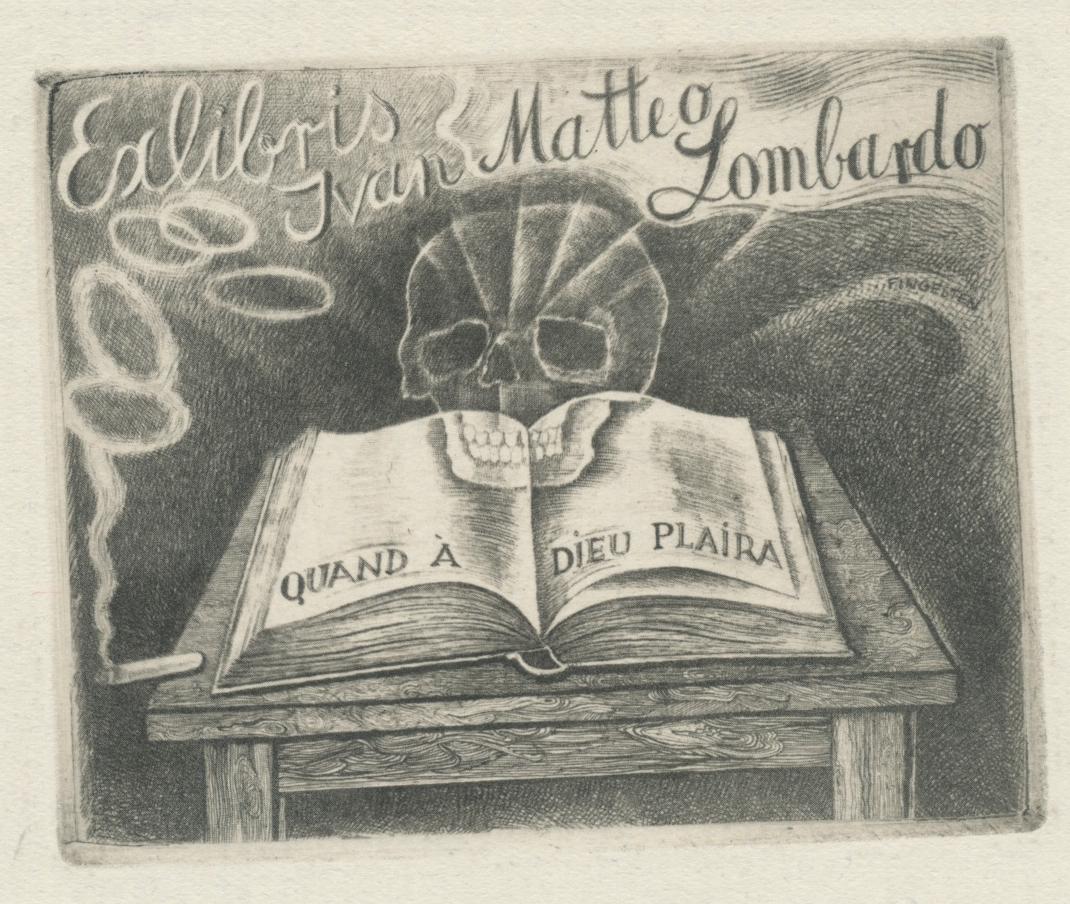 104 Ex Libris Ivan Matteo Lombardo (Quand a Dieu plaira) - Michel Fingesten (1884-1943) 20 euro 02